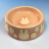 【R066】うさぎ水玉模様のうさぎ様用食器・Sサイズ(桜花ピンク・うさぎ印)