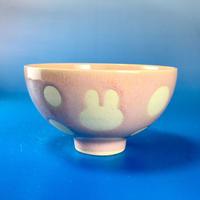 【G040】うさぎ水玉模様のご飯茶碗(桜花ピンク・うさぎ印)