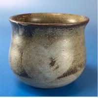 【Y010】秘密のハートの湯呑み茶わん(灰透明釉・還元)