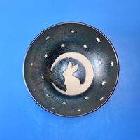 【G037】月夜のうさぎ柄のご飯茶碗ミニ(銀彩釉・手描き)