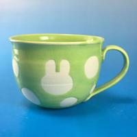 【M046】広口のうさぎ水玉模様のマグカップ大(アップルグリーン・うさぎ印)