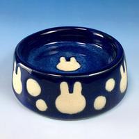 【R049】うさぎ水玉模様のうさぎ様用食器・Sサイズ(ネイビー・うさぎ印)