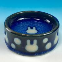 【R178】うさぎ水玉模様のうさぎ様用食器・SMサイズ(なまこ釉・うさぎ印)