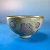 【G014】うさぎ水玉模様のご飯茶碗(緑灰茶系・うさぎ印)