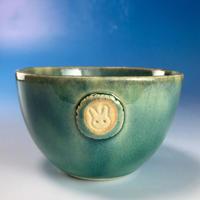 【Y073】海の色の湯呑み茶碗(るり・みどり・うさぎ印)