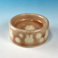【P016】うさぎ水玉模様のうさぎ様用食器ミニ(桜花ピンク・うさぎ印)