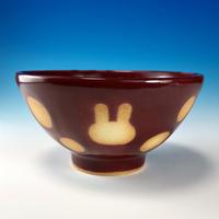 【G089】うさぎ水玉模様のご飯茶碗ミニ(ボルドー・うさぎ印)