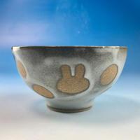 【G065】うさぎ水玉模様のご飯茶碗ミニ(白マット赤土・うさぎ印)