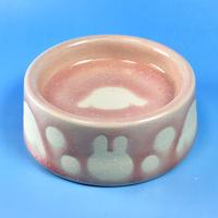【R043】うさぎ水玉模様のうさぎ様用食器・Sサイズ(桜花ピンク・うさぎ印)