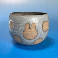 【Y034】うさぎ水玉模様のフリーボウル(マット小豆色・うさぎ印)