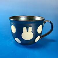 【M059】広口のうさぎ水玉模様のマグカップ大(銀彩釉・うさぎ印)