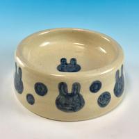 【R041】うさぎ水玉模様のうさぎ様用食器・SMサイズ(呉須・透明秞・うさぎ印)