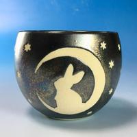 【F011】月夜のうさぎ柄のフリーボール(銀彩釉・うさぎ印)