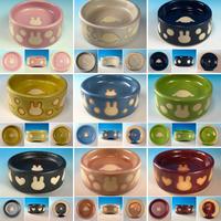 【Reserved item】うさぎ水玉模様のうさぎ様用食器・SSサイズ、Sサイズ、SMサイズ(選べるカラー9色・うさぎ印)