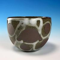 【F015】うさぎ水玉模様のフリーボール(白マット赤土・ロップ・うさぎ印)
