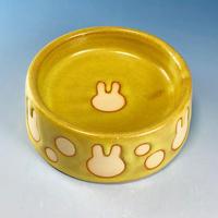 【R095】うさぎ水玉模様のうさぎ様用食器・Lサイズ(イエロー・うさぎ印)