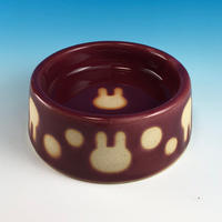 【R148】うさぎ水玉模様のうさぎ様用食器・SMサイズ(ボルドー・うさぎ印)