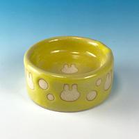 【P019】うさぎ水玉模様のうさぎ様用食器ミニ(イエロー・うさぎ印)