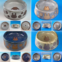 【Reserved item】うさぎ水玉模様のうさぎ様用食器・MLサイズ(赤土・選べるカラー4色・うさぎ印)