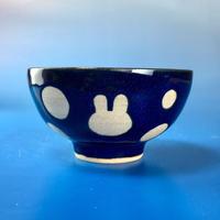 【G030】うさぎ水玉模様のご飯茶碗ミニ(ネイビー・うさぎ印)