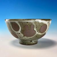 【G071】うさぎ水玉模様のご飯茶碗ミニ(白マット赤土・うさぎ印)