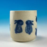 【Z027】豆うさぎ柄の楊枝立て(呉須手描き・うさぎ印)