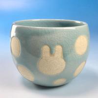 【F014】うさぎ水玉模様のフリーボール(青白磁・うさぎ印)