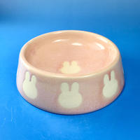 【R013】うさぎ柄のうさぎ様用食器・Lサイズ(桜花ピンク・うさぎ印)