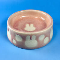 【R042】うさぎ水玉模様のうさぎ様用食器・Sサイズ(桜花ピンク・うさぎ印)