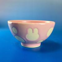 【G047】うさぎ水玉模様のご飯茶碗ミニ(マカロンピンク・うさぎ印)