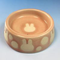 【R067】うさぎ水玉模様のうさぎ様用食器・Sサイズ(桜花ピンク・うさぎ印)