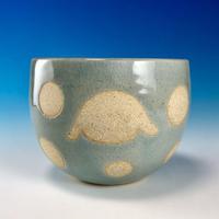 【F038】うさぎ水玉模様のフリーボール(青白磁・うさぎ印)