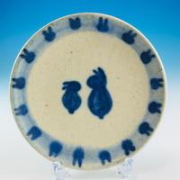 【S023】豆皿(呉須手描き・うさぎ印)