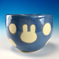 【F034】うさぎ水玉模様のフリーボール(淡青・うさぎ印)