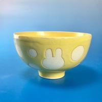 【G011】うさぎ水玉模様のご飯茶碗(イエロー・うさぎ印)