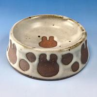 【R047】うさぎ水玉模様のうさぎ様用食器・Sサイズ(白マット・赤土・うさぎ印)