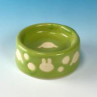 【P020】うさぎ水玉模様のうさぎ様用食器ミニ(アップルグリーンー・うさぎ印)