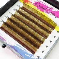 Clear Color Khaki Brown D Curl Size Mix(10-12mm)