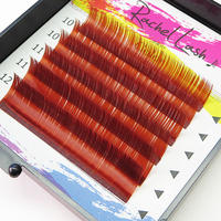 Clear Color Wine Red C Curl Size Mix(10-12mm)