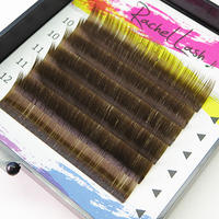 Clear Color Dark Brown J Curl Size Mix(10-12mm)