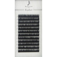 Jet Black Feather Lash D-curl Thickness 0.06mm Size Mix 9mm ~ 14mm
