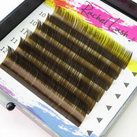 Clear Color Dark Brown C Curl Size Mix (10-12mm)