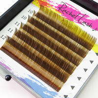Clear Color Khaki Brown C Curl Size Mix(10-12mm)