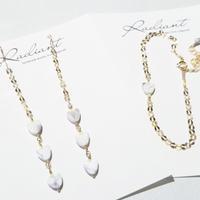 ♡♡♡Specialprice♡♡♡ All 14kgf made      bracelet&Earrings Howlite♡×Neon Yellow