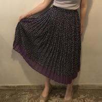 柄プリーツスカート/BLACK×PURPLE