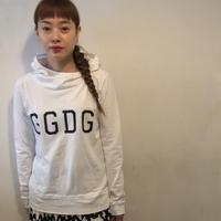 GGDG布帛×カットフーディー/WHITE