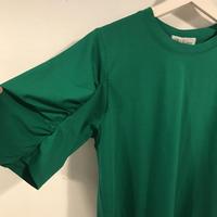 タックsleeveカットソー/GREEN