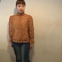 cottonレースブラウス/camel