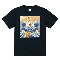 RARETE (ラルテ)  マリリンモンロー 名画 コラージュ    Tシャツ  ブラック