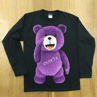 RARETE (ラルテ) テディベア あっかんベー!【紫色】ブラック  長袖Tシャツ